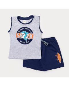 Conjunto para Menino Regata Cinza Tubarão e Bermuda Azul Marinho