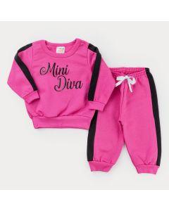 Conjunto em Moletom Pink Casaco Mini Diva e Calça Jogger para Bebê Menina