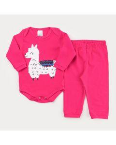 Conjunto de Frio Pink para Bebê Menina Body Manga Longa Lhama e Calça Básica