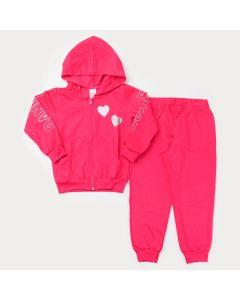 Conjunto de Inverno Pink para Menina Jaqueta com Zíper Coração e Calça Básica