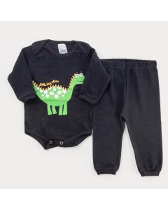 Conjunto de Frio para Bebê Menino Body Preto Dinossauro e Calça Preta Básica