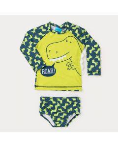 Conjunto Marinho para Bebê Menino com Blusa de Proteção UV e Sunga Dinossauro