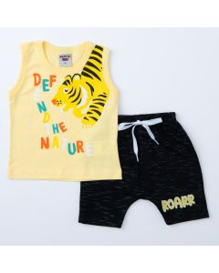 Conjunto Curto Bebê Menino Regata Amarela Tigre e Short Saruel Preto