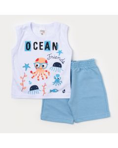 Conjunto Masculino Bebê Regata Branca Polvo e Bermuda Azul