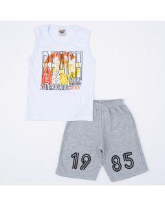 Conjunto Infantil Masculino Regata Branca Estampada e Short Cinza
