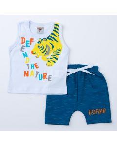 Conjunto de Verão Bebê Menino Regata Branca Tigre e Short Saruel Marinho
