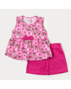 Roupa de Verão para Menina Short Pink e Regata Rosa Floral com Laço