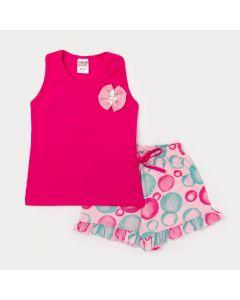 Conjunto Regata Infantil Feminina Pink com Aplique de Flor e Short Estampado