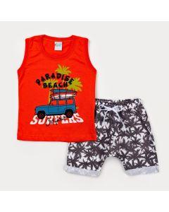 Conjunto Curto para Menino Regata Vermelha Surf e Short Estampado Preto