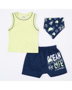 Conjunto com Blusa Verde Básica Babador Fundo do Mar e Short para Bebê Menino