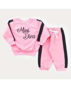 Conjunto em Moletom Rosa Casaco Mini Diva e Calça Jogger para Bebê Menina