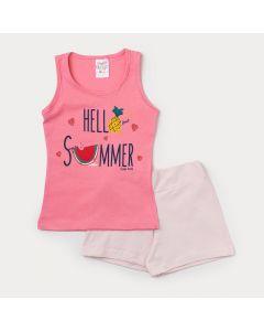 Conjunto Infantil Feminino com Regata Rosa Estampada e Short Rosa Claro
