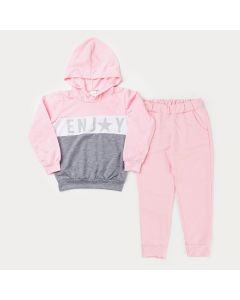 Conjunto de Frio Casaco Rosa Estampado e Calça Rosa Básica para Menina
