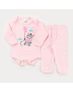 Conjunto de Frio Rosa para Bebê Menina Body Manga Longa Zebra e Calça Básica