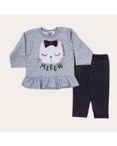 Conjunto de Inverno Bebê Menina Blusa Mescla Gatinho e Legging Preta