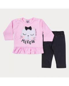 Conjunto de Inverno Bebê Menina Blusa Rosa Gatinho e Legging Preta
