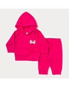 Conjunto para Bebê Menina Casaco com Capuz Pink e Calça Básica Pink em Soft