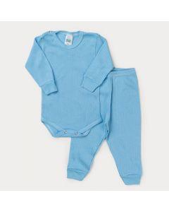 Conjunto de Roupa Bebê Menino Body Manga Longa e Calça Azul