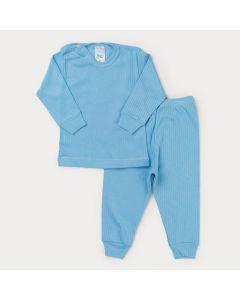 Conjunto de Roupa Azul para Bebê Menino Blusa Manga Longa e Calça Canelada