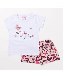 Conjunto Infantil Short de Borboleta e Blusa Branca para Meninas