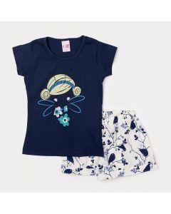 Conjunto de Verão Menina com Blusa Azul Marinho e Short Branco Estampado