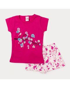 Conjunto Short Branco Estampado e Blusa Pink com Estampa de Flores