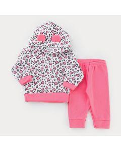 Conjunto em Soft para Menina Casaco com Capuz Oncinha e Calça Pink