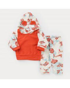 Conjunto em Soft para Bebê Menino Casaco Laranja com Capuz e Calça Estampada
