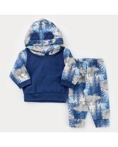 Conjunto em Soft para Bebê Menino Casaco Marinho com Capuz e Calça Urso