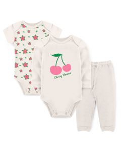 Kit Body 3 Peças Bebê Menina Bodies Marfim Cereja e Calça Marfim
