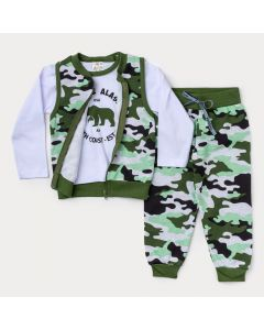 Conjunto 3 Peças Camufladas para Menino Colete, Blusa Manga Longa e Calça