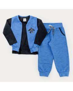 Conjunto com Blusa Básica Preta e Calça e Colete Azul para Menino