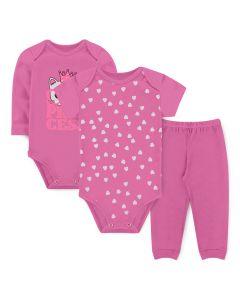 Kit Body 3 Peças Bebê Menina Bodies Rosa Gatinho e Calça Rosa