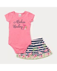 Conjunto de Verão Bebê Menina Body Rosa e Saia Flamingo