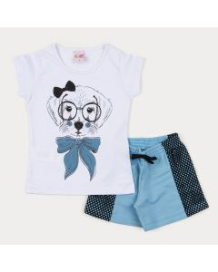 Conjunto Verão Menina short em Moletinho Azul e Blusa Branca Cachorrinho