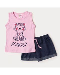 Conjunto Infantil Feminino de Verão Regata Rosa Gatinho e Short em Cotton Jeans