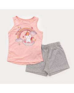 Conjunto Curto Infantil Feminino Regata Rosa Unicórnio e Short Cinza
