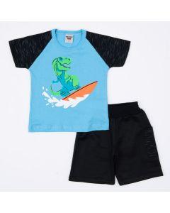 Conjunto de Verão para Meninos Blusa Azul Dinossauro e Short Preto