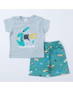 Conjunto de Verão Tubarão Bebê Menino Blusa Cinza e Short Moletinho