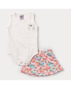 Conjunto Verão Bebê Menina Body Marfim e Saia Laranja Estampada