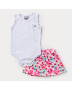Conjunto de Verão Bebê Menina Body Branco e Saia Pink Estampada