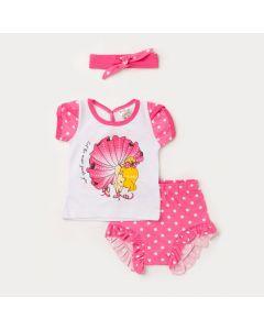 Conjunto Verão Bebê Menina Blusa Branca Bailarina e Short Rosa e Faixa de Cabelo