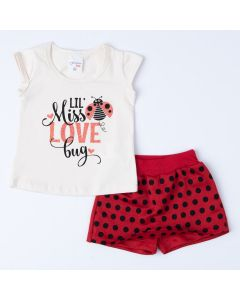 Conjunto com Short Saia Vermelho e Blusa Marfim Joaninha Bebê Menina
