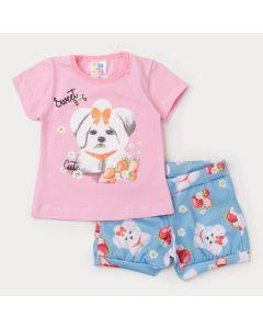 Conjunto Verão Bebê Menina Blusa Rosa Cachorrinho e Short Azul Estampado