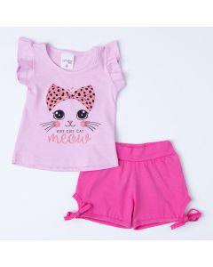 Conjunto Gatinho para Bebê Menina Blusa Rosa Estampada e Short Pink