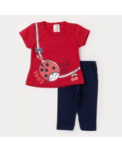 Conjunto de Verão Bebê Menina Blusa Vermelha joaninha e Legging Marinho