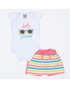 Conjunto Bebê Menina Body Branco Estampado Short Saia Listrado Colorido
