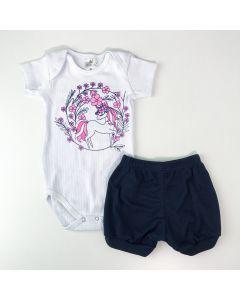 Conjunto Verão Bebê Menina Body Branco Unicórnio Short Marinho