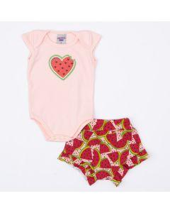 Conjunto de Verão Bebê Menina Body Salmão Coração e Short Melancia