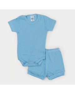 Conjunto Azul em Ribana Bebê Menino Body Botão Veste Fácil e Short